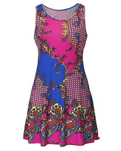 Auxo Damen Ärmellose Blumen Crew Neck Cocktail Party Club Slim Mini Kurz Kleider S EU 40/Etikettgröße L