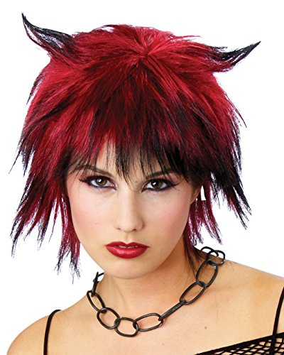 [Red Black Shag Wig Devil Horn Pixie Cut Gothic Hallloween Costume Accessory] (Sexy Devil Costumes Ideas)