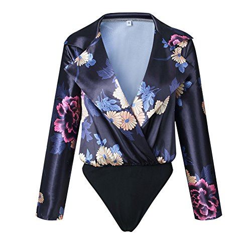 BEEY Women Deep V Neck Floral Print Bodysuit Shirt Tops (Small, Black)