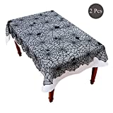 : Halloween Lace Tablecloth Set - 2 Pcs Black Spider Web Gothic Polyester Fabric Rectangle Table Cover for Halloween Party Indoor Kitchen Decoration With 1 Black Overlay 54×72'' 1 White Liner 77×55''