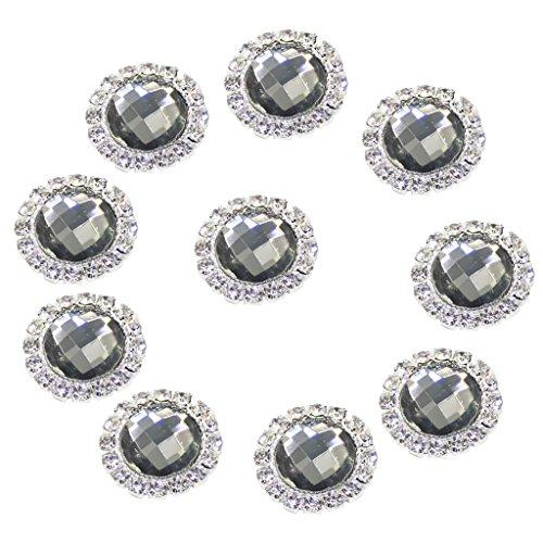 MonkeyJack 10 Pieces 18mm Acrylic Rhinestone Crystal Round Flatback Buttons Beads Gems No Hole Wedding Decor Scrapbooking Sewing Craft - gray, 18 mm Grey Sewing Buttons