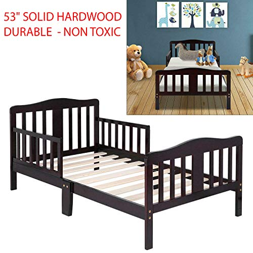 53″ Durable & Solid Hardwood Non Toxic Baby Toddler Bed Kids Children Wood Bedroom Furniture with 2 Side Rails for Added Safety for Children Ages 15 Months and Up – Espresso