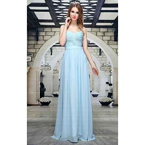 Ball Design Maxi bei Für Damen Ital Festamo Hellblau Kleid HfR5Uanq