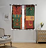 iPrint Stylish Window Curtains,Primitive,Funky Tribal Pattern Depicting African Style Dance Moves Instruments Spiritual,Multicolor,2 Panel Set Window Drapes,for Living Room Bedroom Kitchen Cafe