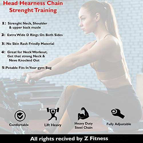 Neck Harness for Neck Fitness Exercise Extra-Heavy D-Rings and Steel Chain, Comfort Fit Neoprene, Excellent Saddle Stitching, Stronger Neck & Traps Adjustable (Black, Standard)