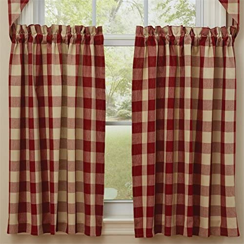 Park Designs Wicklow Red White Check Tier Curtain Pair, 72W x 36L, Garnet