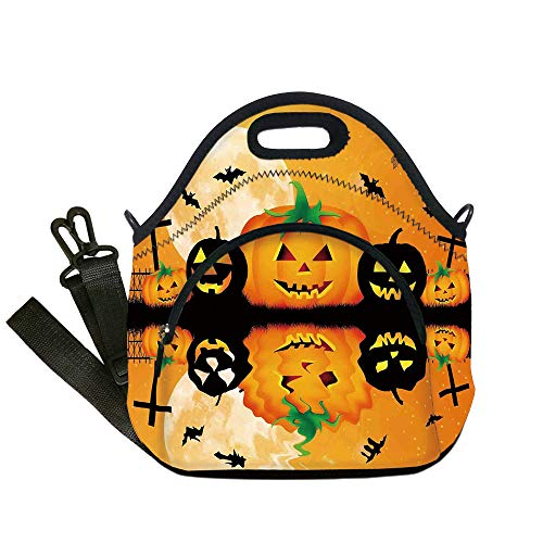 Insulated Lunch Bag,Neoprene Lunch Tote Bags,Halloween Decorations,Spooky Carved Halloween Pumpkin Full Moon with Bats and Grave Lake,Orange Black,for Adults and children -