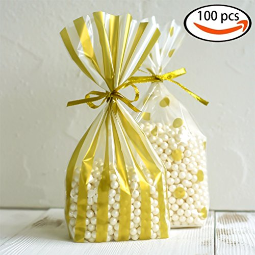 ADIDO EVA 100 Pack Gold Polka Dot and Gold Striped Candy Bags 10 x 6 x 2.5 inch Clear Plastic Treat Bags for Cookie Candy Snack Wrapping Party Favor