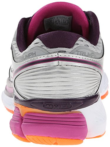 Pictures of Saucony Women's Triumph ISO Running Shoe Silver/Purple/Orange 8