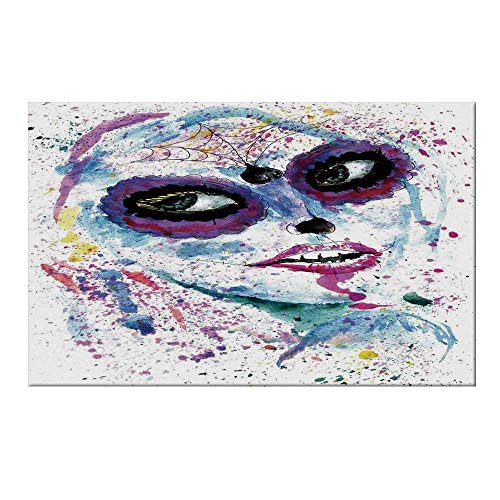 YOLIYANA Girls Durable Door Mat,Grunge Halloween Lady with Sugar Skull Make Up Creepy Dead Face Gothic Woman Artsy for Home Office,19.6
