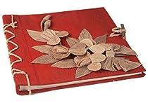 Flaura Mini Red Handmade Photo Album, Classic Style Pages (20cm x 20cm x 2cm)