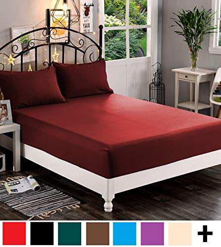 California King Deep Fitted Sheet - Elegant Comfort  Premium Hotel 1-Piece, Luxury & Softest 1500 Thread Count Egyptian Quality Bedding Fitted Sheet Deep Pocket up to 16inch, Wrinkle and Fade Resistant, California King, Burgundy