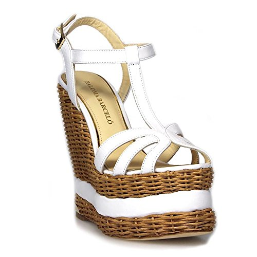 BARCELÓ Women's White PALOMA Leather Wedges VAVNLE01 UgFccWw6q