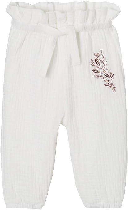 VERTBAUDET Pantalón bebé niña bordado de gasa de algodón Blanco medio liso 1M-54CM: Amazon.es: Bebé