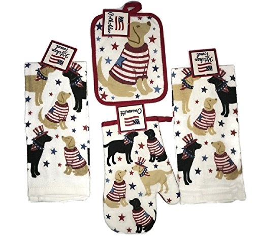 Patriotic Dogs 4-Piece Kitchen Bundle set. 2 Piece Hand/Dish Towels, Oven Mitt and Pot Holder (Red,White ,Blue Dogs) (Set Patriotic)