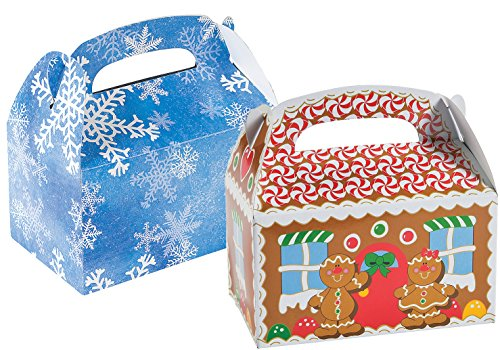 12 Cardboard Gingerbread Treat Boxes and 12 Blue and White Snowflake Treat Boxes, Total 24 Treat Boxes (Bundle of 2 Different Treat - Fund Gingers