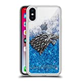 Official HBO Game of Thrones Sigils - Silver Stark Various Designs Blue Clear Hybrid Liquid Glitter for iPhone X/iPhone Xs