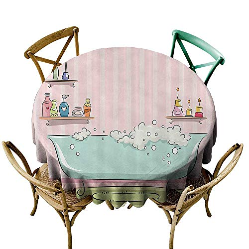 - Jbgzzm Elegance Engineered Tablecloth Teens Girls Women Decor Collection Illustration of Bathtub with Bubbles in Girly Room Aroma Oil Lamps Aromatherapy and Durable D63 Pink Blue