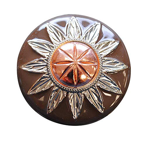 (HILASON Set of 8 Three Tone Finishing Round Conchos Copper Dome Silver and Brown)