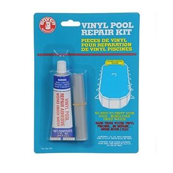 1 oz pegamento subacuático y Kit de reparación Material, Kit de reparación de la piscina de vinilo: Amazon.es: Jardín
