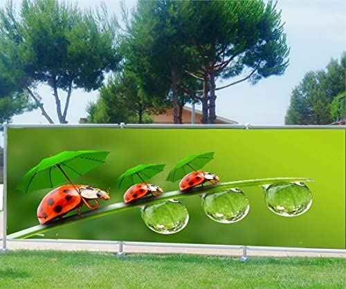 StickersNews Brise Vue, jardín, terraza, balcón Déco Mariquitas, Tela plástico, 100%, 340 x 132 cm: Amazon.es: Hogar