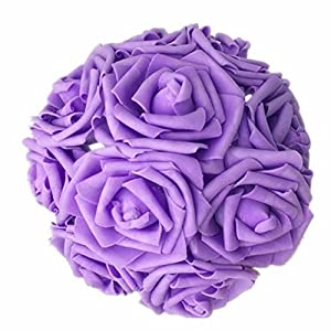Celine lin Artificial Flowers 10Pcs Real Touch Artificial Roses for Bouquets Centerpieces Wedding Party Baby Shower Decorations DIY,Purple 91