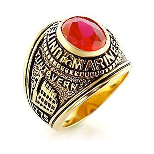 US Marines Ring - (Gold Plated w/ Red Stone) USMC Marines Military Rings Jewelry - Officers Military gear or U.S. Marines Uniform Veteran Ring with flag decal emblem design (8) - Vietnam Veteran Rings