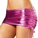 TIAOBU Womens Shiny Metallic Pleated Clubwear Party Mini Skirt with Inside Panty