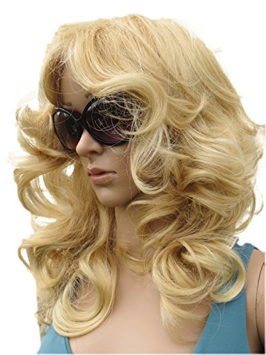 [Wig Perruque Mid Length Soft Large Curled Wig. Highly Versatile 70's Style In Synthetic] (Farrah Fawcett Wig)