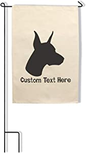 Style In Print Home Decor Garden Flag Doberman Pinscher Silhouette Cotton Canvas Outdoor & Patio Decor Flag Only Personalized Text Here