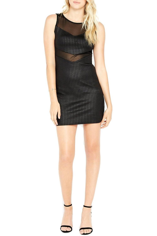 Women's Fashion Trendy Mesh Panel Hundstooth Prints Bodycon Dress USA