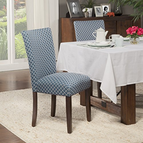 Awesome HomePop Elegance Blue and Cream Parson Chair (Set of 2) Kitchen Furniture Blue