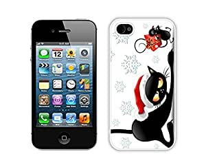 Diy Design Christmas Black Cat With Mouse Iphone 4s,Apple Iphone 4s White TPU Cover Case