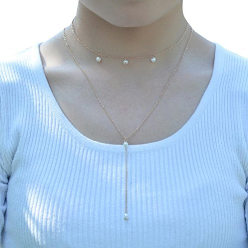 Botrong Double Layer Pearl Accessories Crystal Necklace Tassel Flash Choker Elegant Gift - Sandstone Pearl Antique Pearl