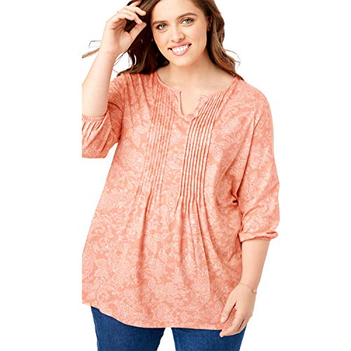 (Woman Within Women's Plus Size Notch Neck Pintucked Tunic - Sunset Peach Stitch Floral, 18/20)