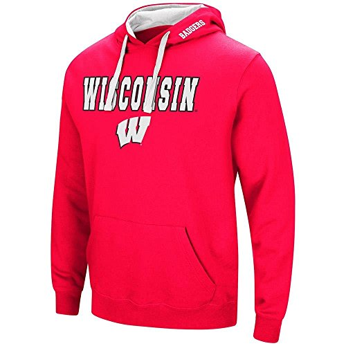 Colosseum Mens Wisconsin Badgers Pull-Over Hoodie - M