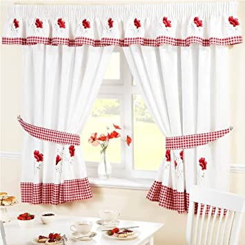 Red Curtains amazon red curtains : Amazon.com: POPPY GINGHAM KITCHEN EMBROIDERED DRAPES CURTAINS RED ...
