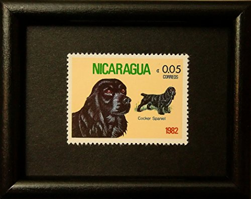 Cocker Spaniel Dog -Framed Postage Stamp Art (Spaniel Postage Stamp)