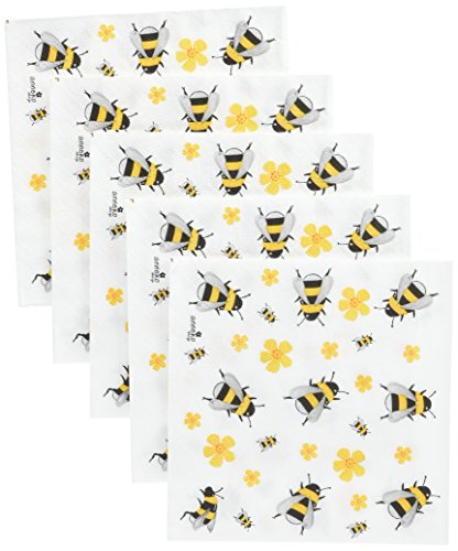 Paperproducts Design 1251948 Beverage/Cocktail Dancing Bumble Bees Paper Napkins (20 Pack), Multicolor by Paperproducts Design