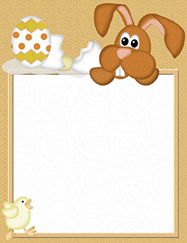 Easter Bunny Stationery (Brown Easter Bunny & Eggs & Chick Stationery Printer Paper 26 Sheets)