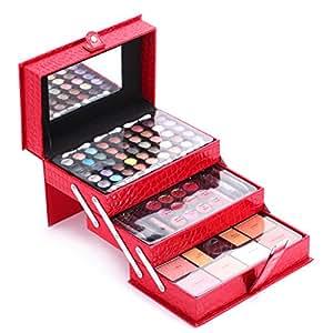 Portable Professional Makeup Kit Set Eyeshadow Palette for Girls Women Matte Shimmer Cosmetics Set (Red)