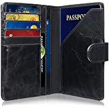 RFID Blocking Passport Holder (9 Slots), GreatShield Theft Proof Leather Wallet [5 Credit Card Slots | 3 Cash Compartments | 1 Passport Slot] for Men & Women - Black