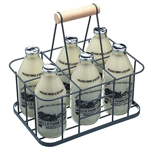 KitchenCraft Living Nostalgia Metal Bottle Carrier Basket with Handle LNBCARRIER