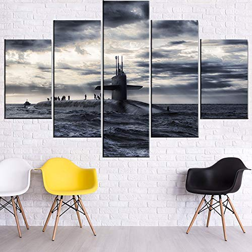 Black and White Paintings Military Submarine Pictures Prints Wall Art for Living Room 5 Panel Navy Ocean Boat Artwork on Canvas Modern Home Decor Giclee Framed Stretched Ready to Hang(60''Wx40''H)