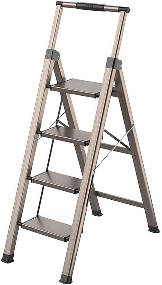 LJSJT Escaleras Plegables Escalera de Aluminio Pesado Barandilla telescópica Escalera de 4 peldaños Pies Antideslizantes Ideal para hogar/Cocina/Garaje: Amazon.es: Hogar