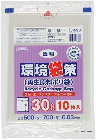 環境袋策 30L 再生LL 透明 0.03mm 30冊×10枚(300枚)/ケース LR-33