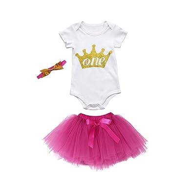 60d80b81a Gallity 3Pcs Baby Girls Clothes Crown Romper+Princess Tutu Skirt+Headband (Hot  Pink