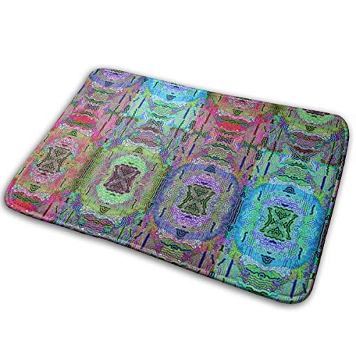 (ZELIG Tibet Inspiration Mix Large_229,Colourful Easy Clean PVC Non Slip Backing Entry Way Doormat for Patio, Front,16x24in Weather Exterior Doors.)
