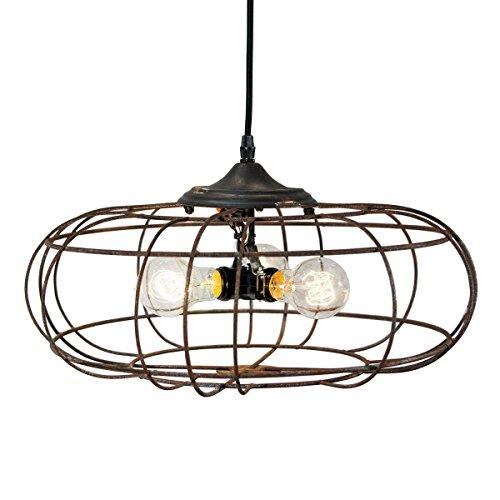 Basket Hanging 3 Light (Industrial Style Geometrical Three-Light Hanging Round Basket Light, Chandelier)