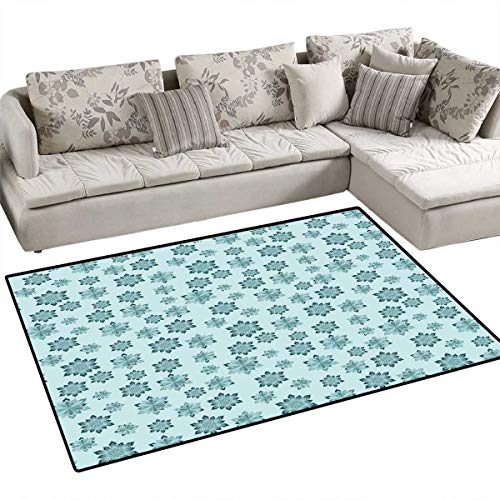 Teal Door Mats Area Rug Wintertime Inspiration Ornate Abstract Snowflakes in Pale Colors Christmas Bath Mat Non Slip 55